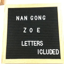 new fashion custom wooden frame three legged stand felt letter alphabet board & plastic letters for letterboard