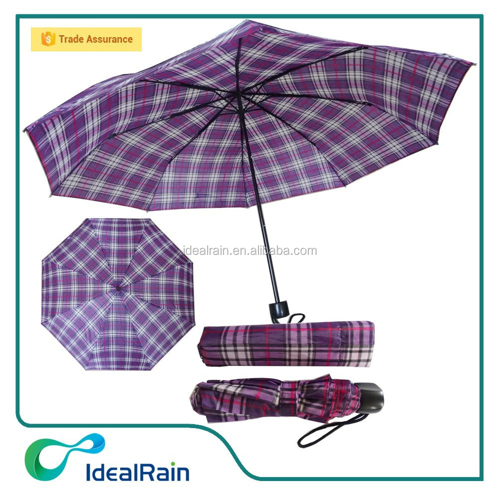 Polyester Purple manual open plaid design rain umbrella