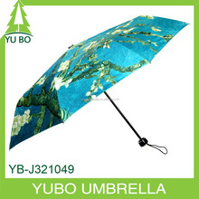 all printing painting three fold umbrella, famous oil painting with nature tree and flower printed umbrella