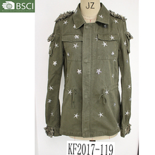 2017 JOYOO hot selling army-green coat twill coat for women and men