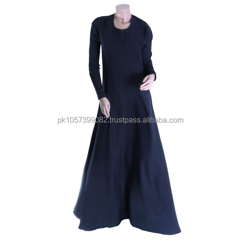 latest design cotton jersey abaya with stones and stud -Coat style cheap multi colored jersey abaya design 2014