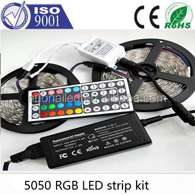 Non-Waterproof RGB LED Strip Light Kit with 24 Keys IR Controller (16.4 ft 300 LEDs, Color Changing RGB SMD 5050)