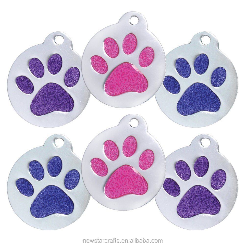 Super Cute Glitter Paw Pet Id Tags for Dogs and Cats Identification Tags