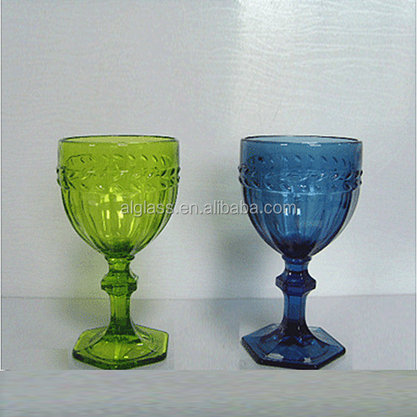 Colored Short Stem Heavy Wine Glass View Colored Stem