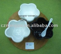 3pcso f saucer bowl with wooden tray ceramic white bowls
