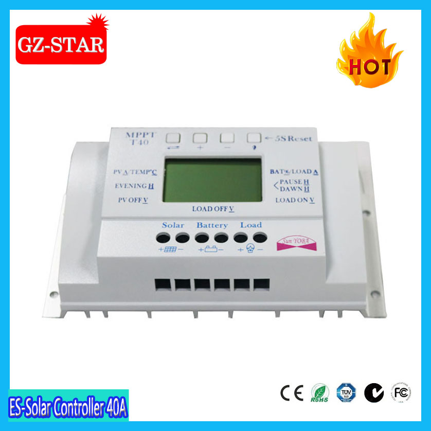 MPPT 40A LCD USB 5V Solar Charge Controller 12V 24V Dual timer Control Solar Panel Batteries Charger PWM Solar Controller