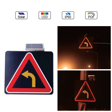 Solar Powered(Charging) Waterproof IP65 Traffic LED & Optical Fiber Sign Light (Left Turn Sign)