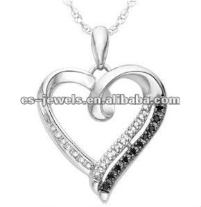 stainless steel Black and White Round Diamond cz Heart Pendant