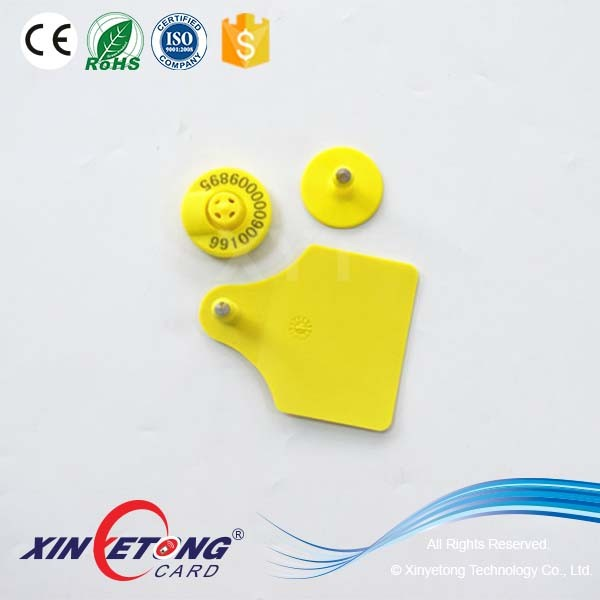 Yellow Color ISO11784/5 134.2khz RFID Ear Tag For Pigs
