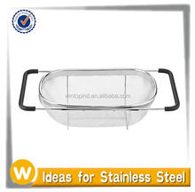 Over the Sink Stainless Steel Mesh Fruit Colander / strainer with Extending Rubber-Grip Arms