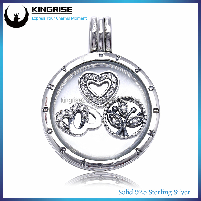 2016 Winter Collection Silver 3pcs Heat Shaped Floating Charms For Floating Glass Locket Pendants