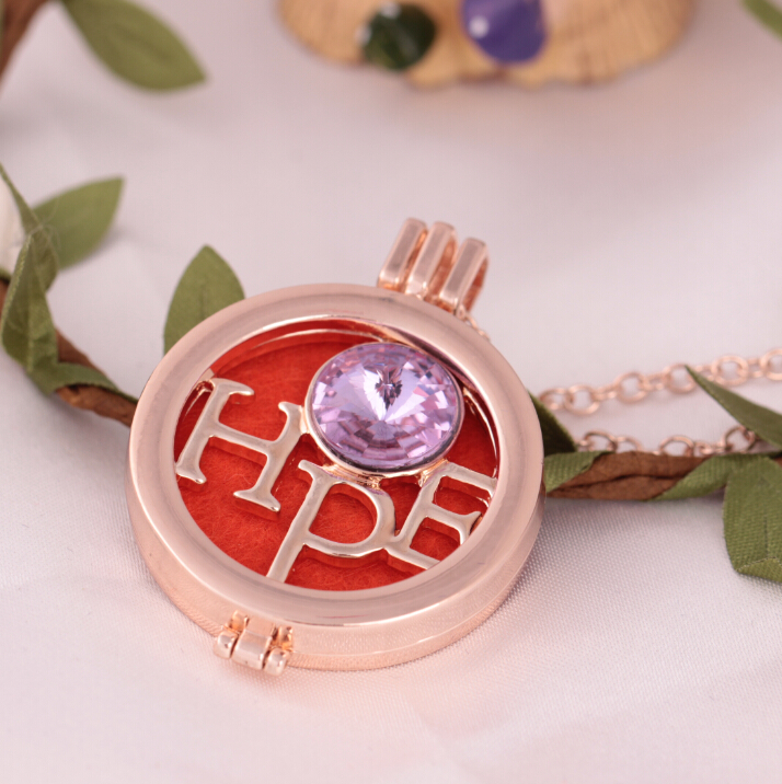 YIWU new creative rose gold plated DIY locket HOPE oil diffuser essential long chainpendant necklace for women