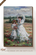 Impressional Mother and Child Daughter Landscape Famous Canvas Wall Oil Painting Art of Woman Reproduction