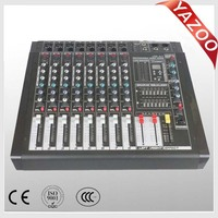 YAZOO hot sale USB8.2 8channel 250W*2 professional USB DJ audio powered mixer