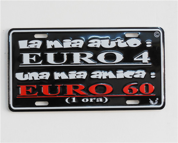 colorful irregular car license metal plate