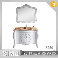 hot sale european style inlaid with silver solid wood bathroom furniture
