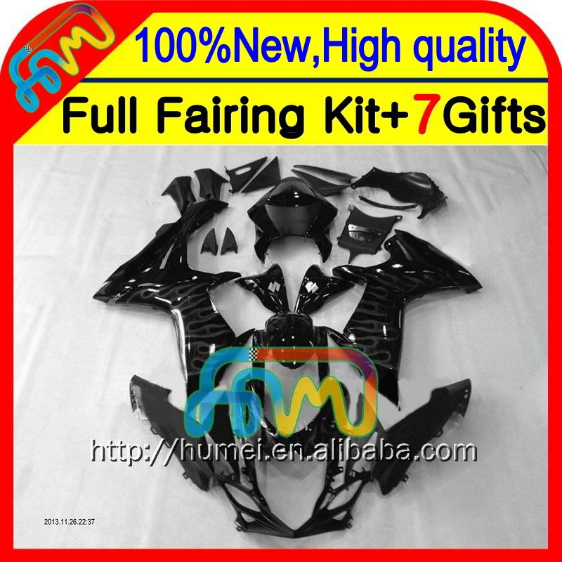 BodyGrey flames For SUZUKI GSXR 750 11 12 13 14 GSX-R750 5CL8213 GSX R750 2011 2012 2013 2014 GSXR750 K11 Grey black Fairing