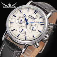 Jargar Brand Chronograph Man White Watches Automatic Mechanical Leather Wristwatch