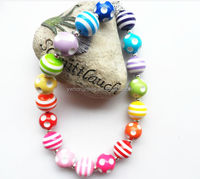 Most Popul Factory Direct rainbow color girls chunky beads necklace,bubblegum chunky necklace kids/ girls jewelry in wholesale