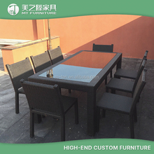 Leisure ways synthetic rattan dining table and chair set used commercial outdoor dinning room furniture with 8 seaters