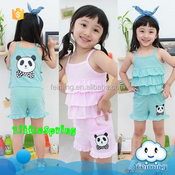 Wholesale boutique items cheap designer clothes set china cute cartoon print kids summer teens suit
