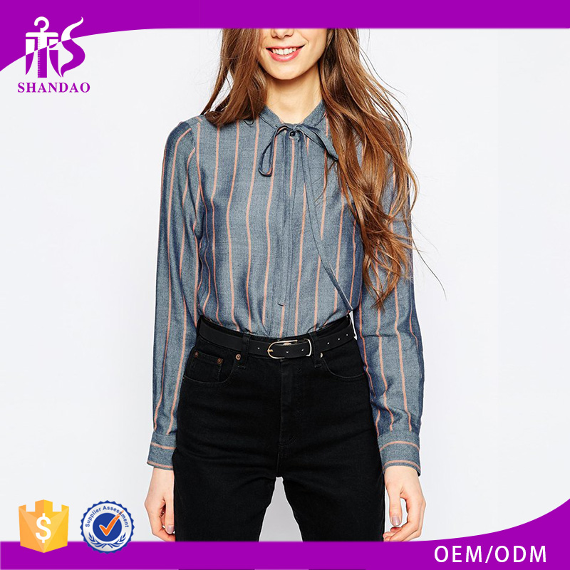 2016 Guangzhou Shandao Wholesaler Latest Fashion Autumn Women Long Sleeve Tie Up Collar Striped Cotton Neck Design Of Blouse