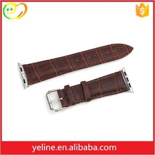 Crocodile grain leather western wide watch bands for apple watch for men