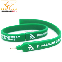 engrave color process silicon rubber wrist band pen Pulsera de silicona