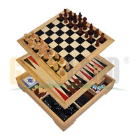 Wooden Chess Game Set Deluxe 7 in 1 Wooden Multi Game Box