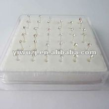 925 Silver CZ Jewelry nose ring body piercing studs 1.8mm round clear 10mm length straight