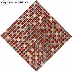 Red Glass Mosaic Tile, Broken Mosaic Tile, Ice Crackle Glass Mosaic Tile