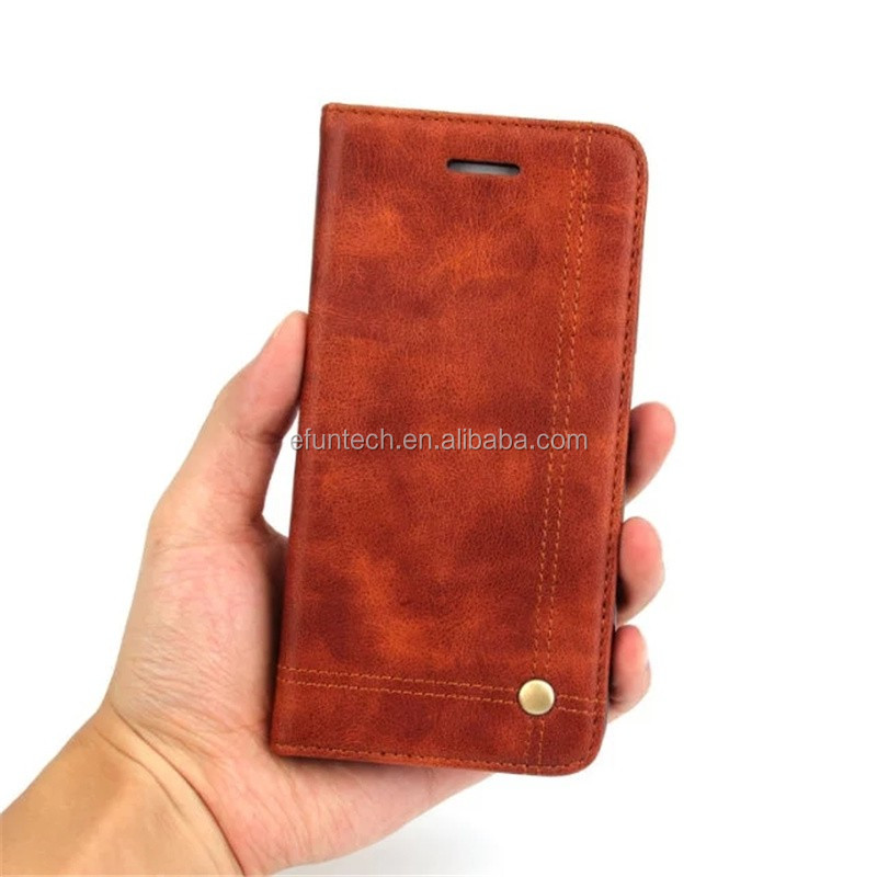 Premium vintage PU leather flip phone case for iphone 7