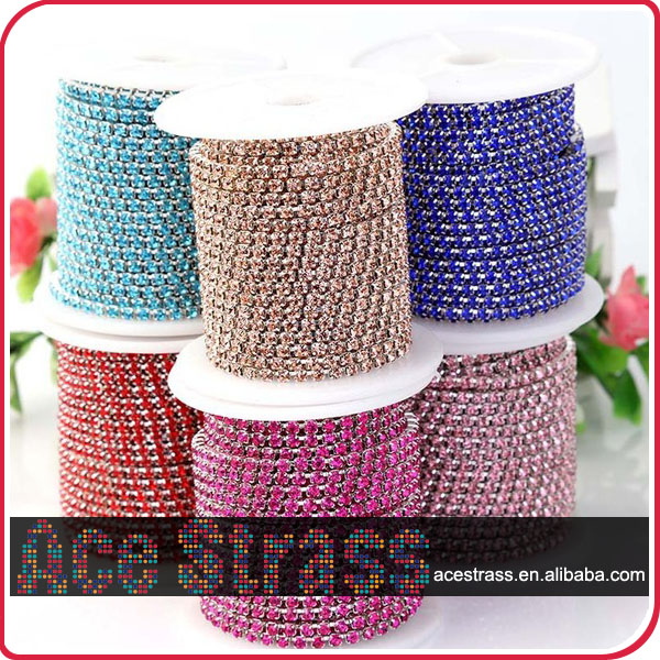 wholesale diamond strass trim metal chain crystal for Carnival Fiesta costume