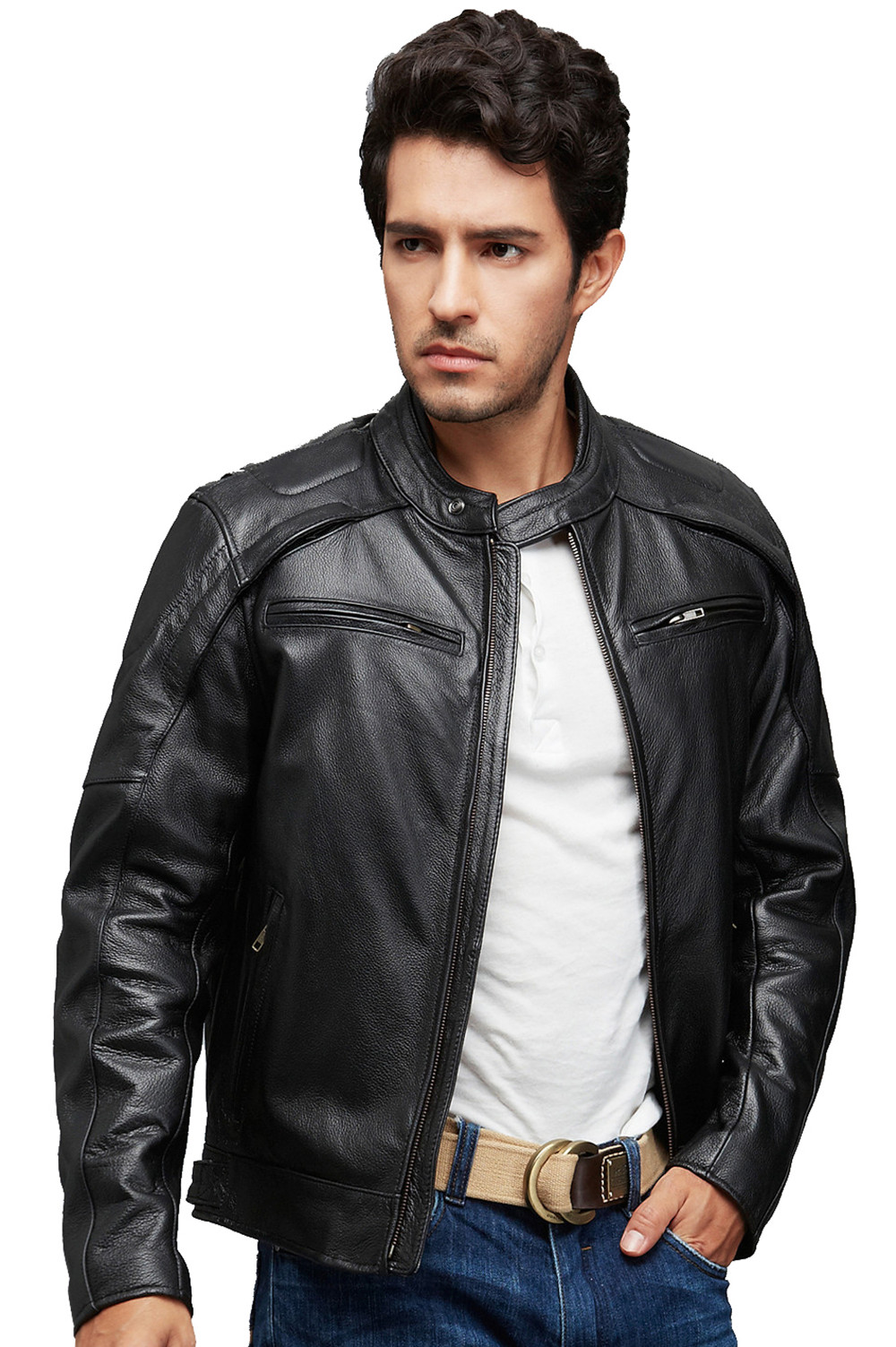 Mens Camel Biker Leather Jacket