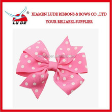 2015 colorful Dots printed grosgrain ribbon handmade ribbon bow with barrette