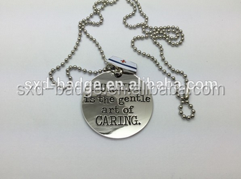 Bright nickel plated debossed dog tags with ball chain for Fireman