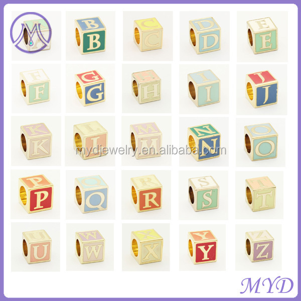 European large hole 26 alphabet charms metal letter beads for bracelets