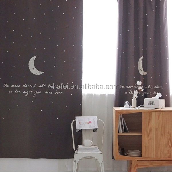 Readymade simple drapes digital printing full shade window blackout curtain