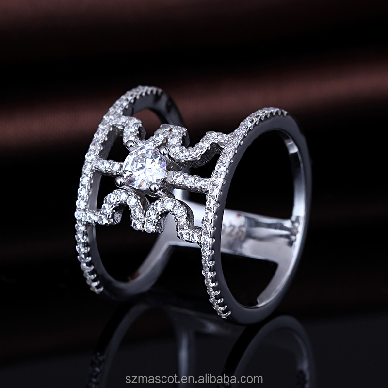 top quality silber schmuck zircon jewelry accessories m letter shape ring