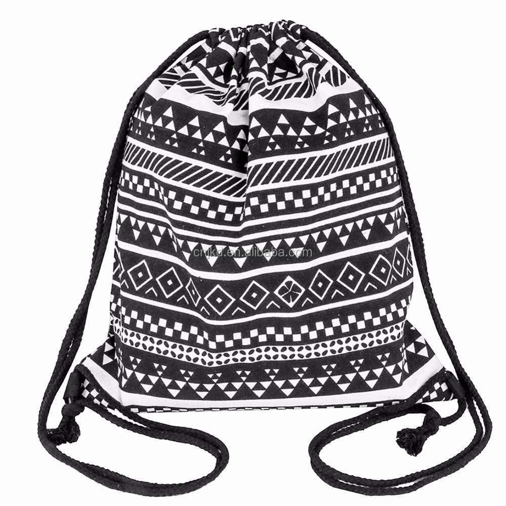 High Quality Cheap Printed Plain Cotton Canvas Drawstring Bag