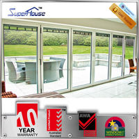 10years warranty double glass aluminum veranda bifold doors with Australian standards AS2047 AS2208 AS1288