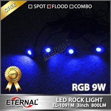 9W RGB LED Rock Light for ATV UTV SUV 4X4 Offroad rock light Motorcycle Car Boat Watercraft Snowmobile Helicopter jeep led light