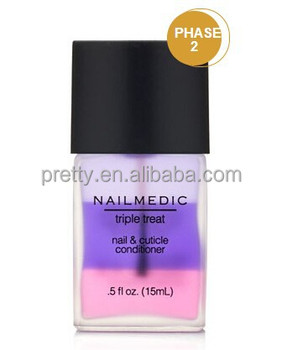 Nail and cuticle conditioner triple-function nail treatment provides anti-aging properties while maintaining healthy nails.