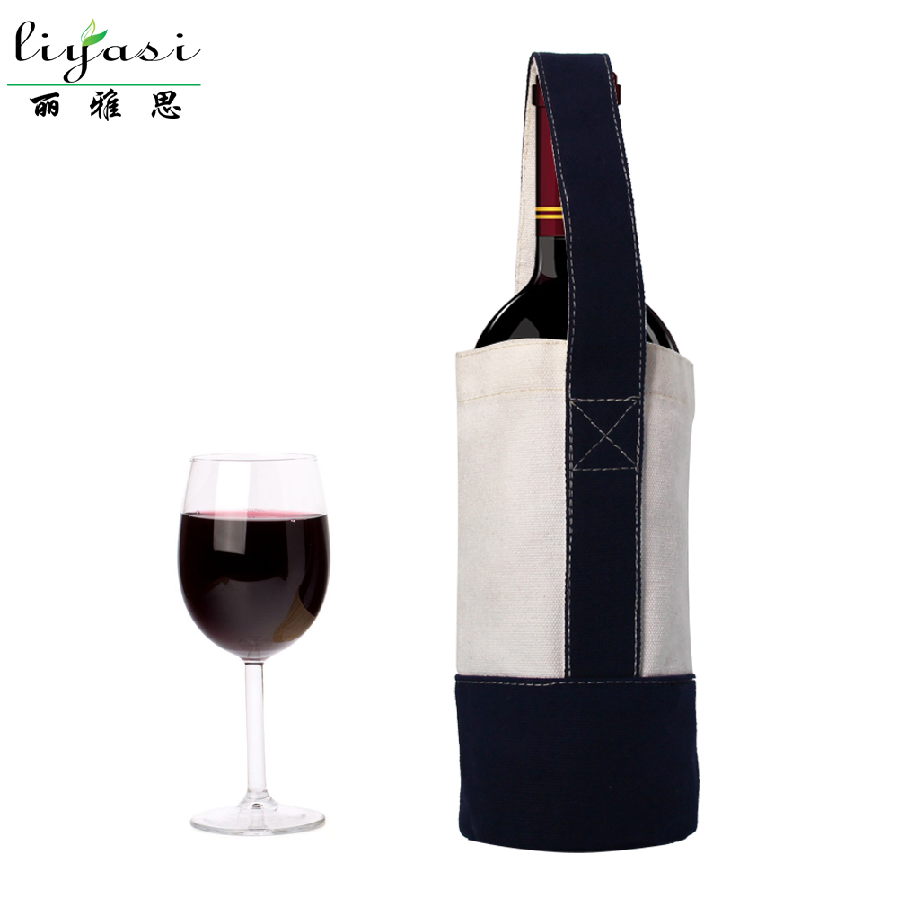 High quality functional customized round bottom canvas wine bottle bag