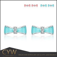 CYW Authentic 925 sterling silver colour glue enamel earrings Bowknot is female earrings