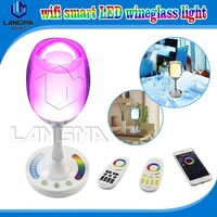 LED Flashing cups, 120lm Lighted Wine Glass, Light Up Party Glass with wifi iphone control