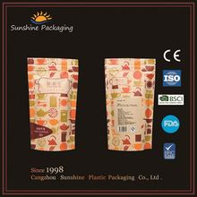 Gold foil resealable ziplock food grade condiment plastic packaging bag for mailing service