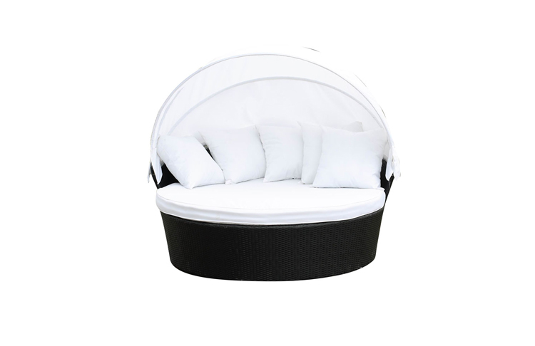 Outdoor Plastic Wicker Daybed Big Round garden chinese Daybed with pillows and roof