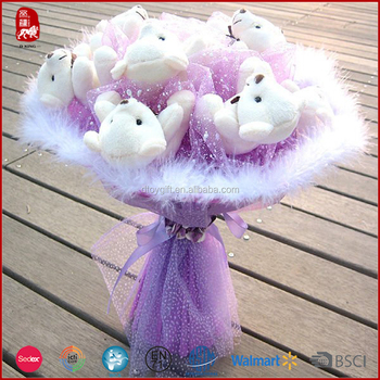 Romantic cheap plush teddy bear bouquet valentine gifts