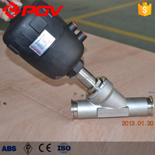 china made clamp type pneumatic angle seat valve with plastic head